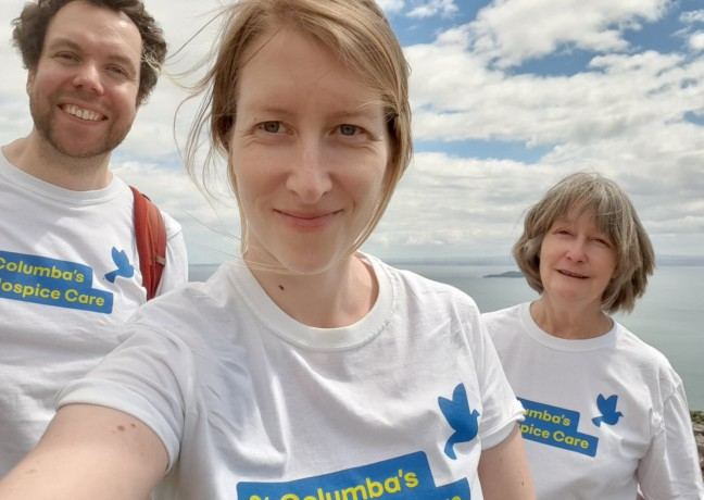 Picture of Ann Weston, Laura Weston and Dave Burkimsher, Ann, daughter Laura & Laura's partner Dave walked from Aberdour, over the Binns above Burntisland and back via Kinghorn Loch to complete 13.5 miles!