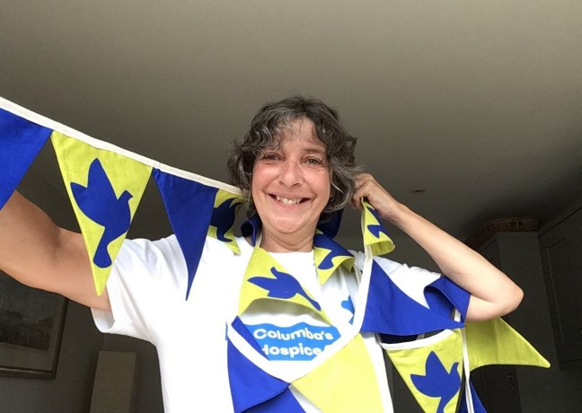 Picture of Johanna McAleese, Johanna had great weather and a great walk in memory of her sister. We love the bunting Johanna!