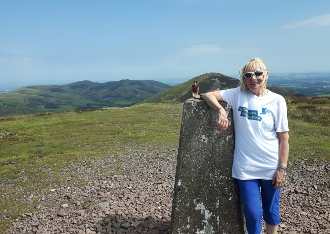 Picture of Lesley Hay, Lesley Hay enjoyed glorious weather and beautiful scenery during her marathon walk over the Pentland Hills.