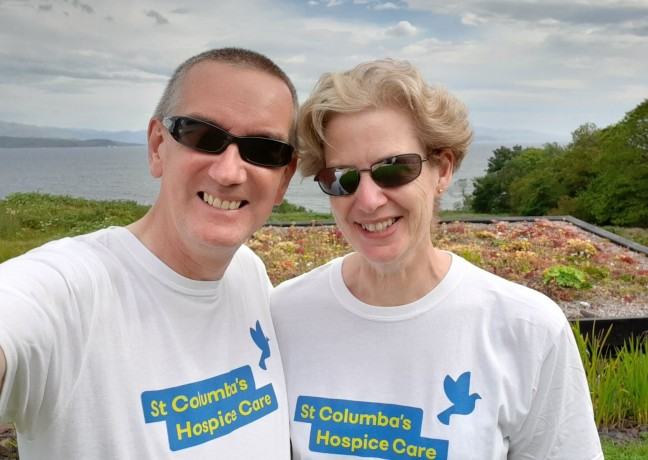 Picture of Craig and Harriet Marshall, Craig and Harriet were on Skye when their family took part in the Walk on the last day of July but they wore their Hospice t-shirts and actually walked more miles!