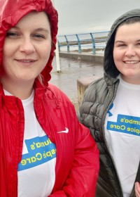 Picture of Nadine Blackhall and her sister, Smiling despite the rain, Nadine and her sister didn't let the weather get them down, as they completed their 3-day Walk from Portobello to Fisher Row, Prestonpans to Port Seton!