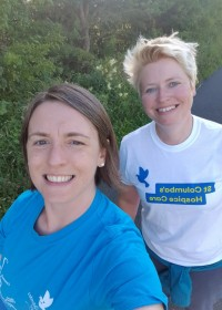 Picture of Laura and Lisa, Laura & Lisa walked along the Forth and Clyde Canal outside of Glasgow, wearing Hospice T-shirts to complete their challenge. Laura's pug Douglas joined them!